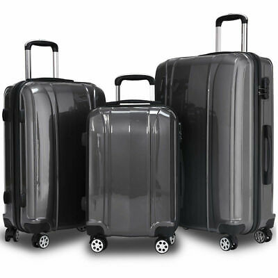 "GLOBALWAY 3 Pcs 20"" 24"" 28"" Luggage Travel Set ABS+PC Trolley Suitcase Spinner"