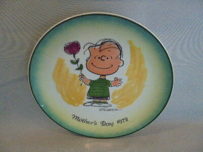 Peanuts-LINUS mit Rose,1972 MOTHER DAY PLATE !Limited Edition Muttertagsteller!