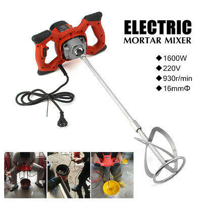 1600W Electric Mortar Mixer Handheld Stirrer Paint Cement Grout Mixing Tool