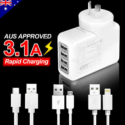 4 USB Wall AC Charger Adapter Plug Rapid Charge Cable Apple iPhone X Samsung S9