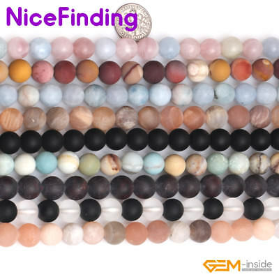 "Wholesale Natural Round Frosted Matte Loose Stone Beads For Jewelry Making 15""NF"