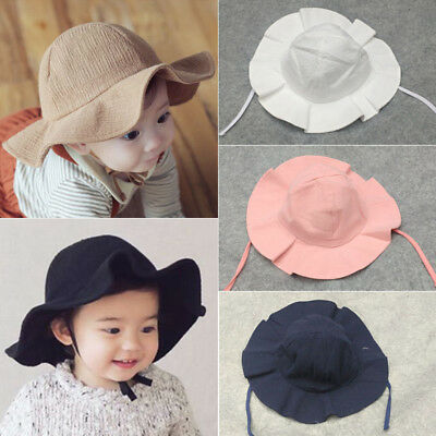 Cute Newborn Baby Boy Girls Summer Bucket Hat Toddler Infant Cotton Sun Cap b9ff35513ce