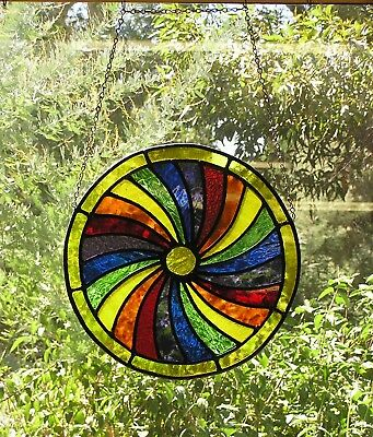 Summer Four Seasons Medieval Stained Glass Roundel