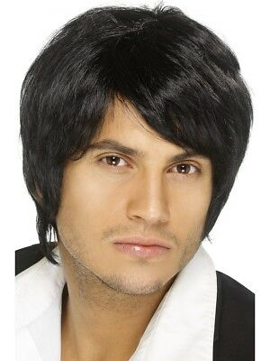 Short Black Wig Mens Pop Star Boy Band Fancy Dress Wig Straight Black Wig