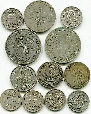 UK lot of (12) 00 fine silver coins 1920's to 1940's lotmar2757