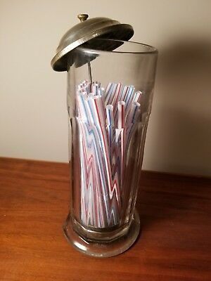 Vintage Glass Straw Holder Dispenser - Soda Fountain Style -LAWRENCEBURG, KY