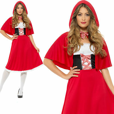 Ladies Red Riding Hood Costume Fairy Tale Fancy Dress Short and Longer Dress