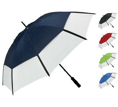 "Large 60"" Windproof Golf Umbrella Vented Two Tone Manual Opening Foam Grip UK"