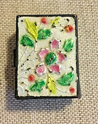 Small Antique Chinese Cloisonne Style & Repoussed Enamel Box , Snuff Or Trinket