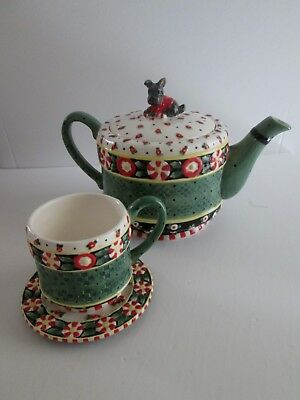Mary Engelbreit CHRISTMAS WISH TEAPOT & CUP SAUCER 4pc SCOTTIE Henry SCOTTISH