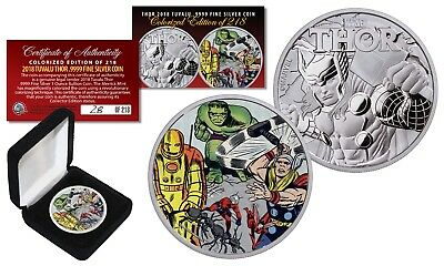 2018 1 oz Pure Silver Tuvalu Marvel Comics THOR Coin S/N of 218 - Avengers Hulk