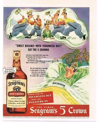 1943 Seagram's 5 Crown Whiskey King Dreaming Away Toughness art Vtg Print Ad