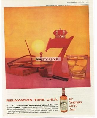 1959 SEAGRAM'S Seven Crown Whiskey Big Red 7 Relaxation Time Vtg Print Ad