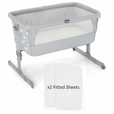NEW CHICCO CIRCLES NEXT 2 ME SIDE SLEEPING  BABY CRIB WITH x2 FITTED SHEETS