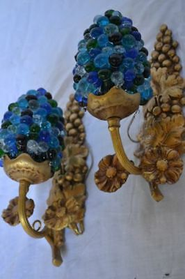 Blue wall lamps - glass and Bronze