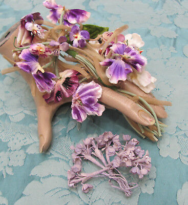 LOT-2* STUNNING 50s Vtg *PURPLE VIOLETS & LILAC FLOWER Hair-Hat-Corsage FLOWERS