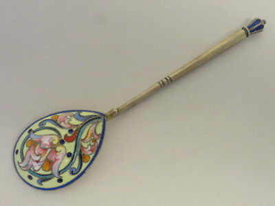 Antique Russian silver 84 cloisonne shaded enamel spoon. Length is 5.25 inches