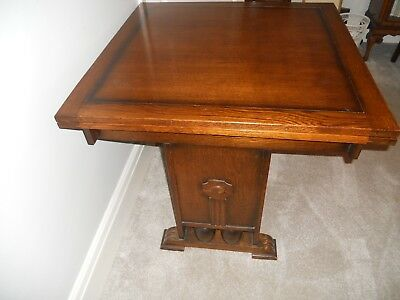 Beautiful Oak Draw Leaf Dining Table Art Deco Design To Sides