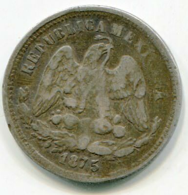 Mexico 25 Centavos 1875 CnP Ext rare date/mint seldom offered lotmar2556