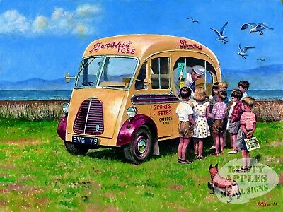 Vintage Ice Cream Van At The  Seaside Painting Metal Sign: Sizes To Choose From