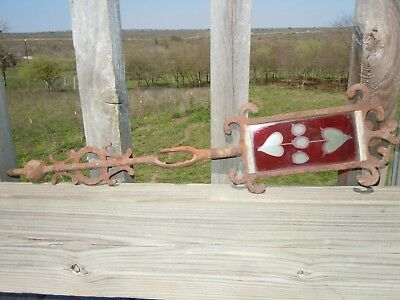 Antique Cast Iron STAINED GLASS Ruby Red HEART Weathervane Directional ARROW