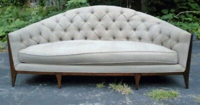 **-Quality 1940's American Grey very Large Tufted back Sofa