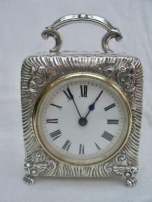 Superb 8 Day Sterling Silver Carriage Clock By Douglas Clock Co Birmingham 1900.