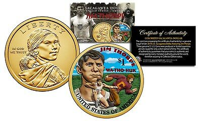 2018 Native American JIM THORPE Colorized Genuine Legal Tender $1 Sacagawea Coin