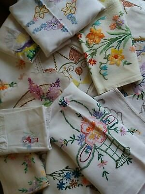Job Lot Of 15 Vintage Hand Embroidered Mixed Linens~Runner~Doilies~Tray Cloths~