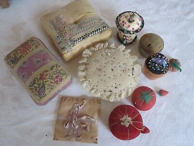 Lot 10 Assorted Vintage Antique Pin Cushions Sewing Notions Handmade 1930's 40's