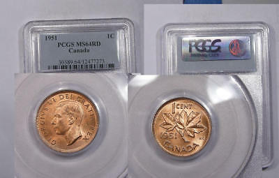 1951 Canada Cent Pcgs Ms64Rd Inv#325B-3