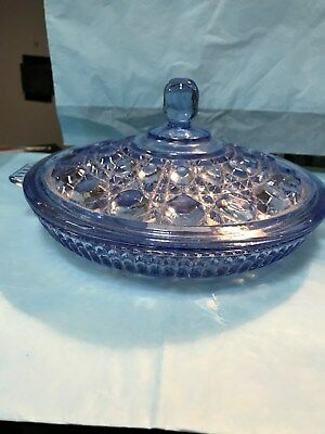 INDIANA GLASS WINDSOR DIVIDED RELISH WITH LID---------------------------------c2