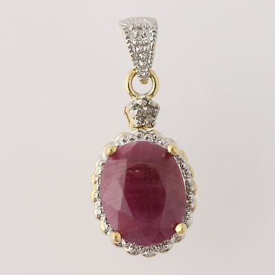 NEW Ruby Halo Pendant Sterling Silver 2-Toned Diamond Red Oval Solitaire 3.15ct