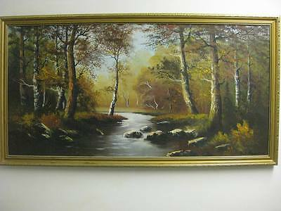 Oil Painting on Canvas by Wendy Reeves - Original - Forest & River Stream Scene