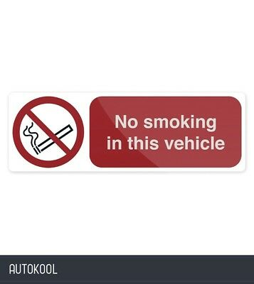 Fixman No Smoking In This Vehicle Sign 150 x 50mm Self-Adhesive
