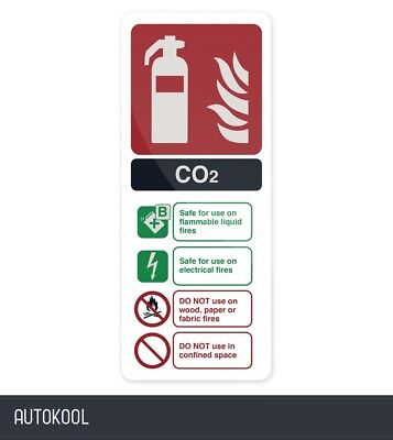 Fixman CO2 EN3 Fire Extinguisher Sign 202 x 82mm Rigid