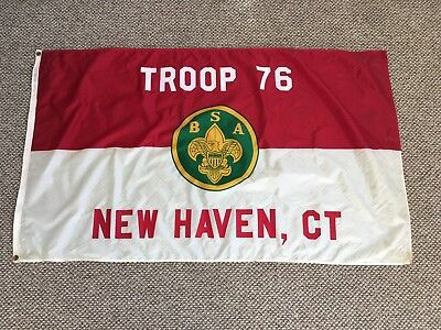 Vintage BSA Boy Scouts Of America TROOP 76 New Haven CT Flag 3x5 Official Equip