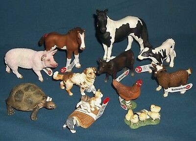 Mixed Lot of 11  Schleich Toy Animal figures mint condition
