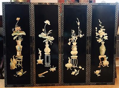 4 Vtg ~ Asian Chinese ~ Black Lacquer ~ Mother Of Pearl ~ Urns Birds Wall Panels
