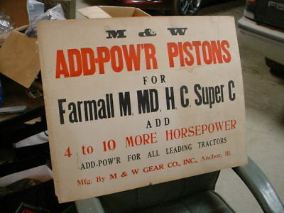 M&w Pistons Advertising Sign/poster-Farmall M,md,h,c,super C Tractor-Orginial