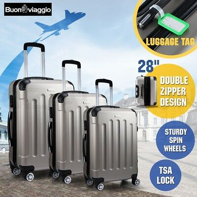 3PC Luggage Suitcase Trolley Set TSA Carry Bag Hard Case Lightweight - Champagne