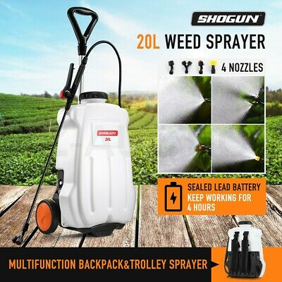 20L Weed Sprayer Garden Wheel Backpack Spot w/4 Nozzle Pump Tank Hose Lance Belt