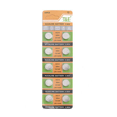 10Pcs AG10 LR1130 389A CX189 Alkaline Button Coin Cell Pack Cell Battery Salable