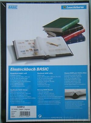 Lighthouse Stockbook for Stamps 32 White Pages, 9 Clear Strips, Black Cover