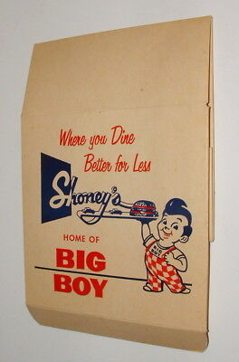 1950s SHONEY'S BOBS BIG BOY ULTRA RARE TAKE HOME BURGER BOX MINT UNUSED