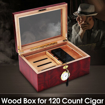 120 Cigars Wood Box Cedar Lined Cigar Storage Case Humidor Humidifier Hygrometer