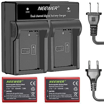 Neewer 2-Pack Battery Replacement for Canon LP-E10 for Canon EOS Rebel T3 1100D