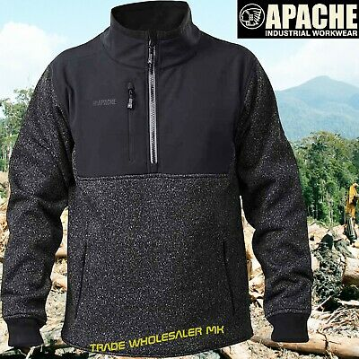 Apache Ats Zipped Knit Tradesman Work Wind Resistant Sweater Pullover 1/4 Zip