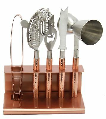 Stylish 6 Piece Hammered Copper Metal Cocktail Bar Tool Set and Stand