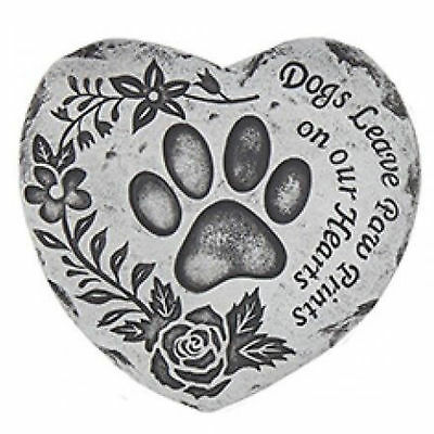 Heart Shaped Pet Memorial Plaque Stone - Dogs Leave Paw Prints on our Hearts
